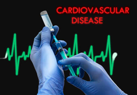 inflamation: Treatment of cardiovascular disease. Syringe is filled with injection. Syringe and vaccine. Medical concept.