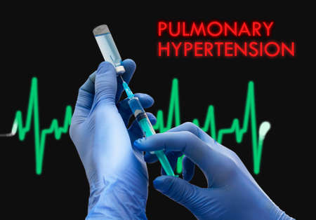 embolism: Treatment of pulmonary hypertension. Syringe is filled with injection. Syringe and vaccine. Medical concept. Stock Photo