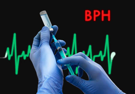 prostatic: Treatment of BPH (benign prostatic hyperplasia). Syringe is filled with injection. Syringe and vaccine. Medical concept.