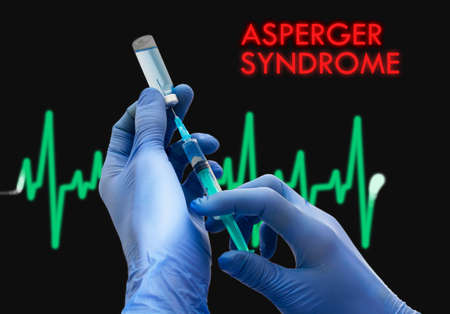 asperger syndrome: Treatment of asperger syndrome. Syringe is filled with injection. Syringe and vaccine. Medical concept.