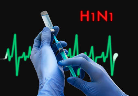 neuraminidase: Treatment of h1n1 (swine  flu). Syringe is filled with injection. Syringe and vaccine. Medical concept.