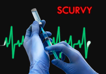 scurvy: Treatment of scurvy. Syringe is filled with injection. Syringe and vaccine. Medical concept. Stock Photo
