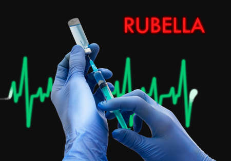 rubella: Treatment of rubella. Syringe is filled with injection. Syringe and vaccine. Medical concept.