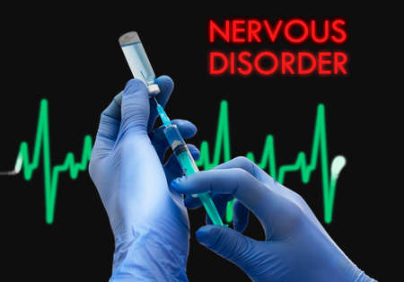 insomniac: Treatment of nervous disorder. Syringe is filled with injection. Syringe and vaccine. Medical concept.