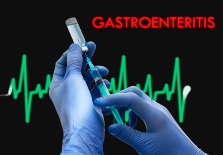 gastroenteritis: Treatment of gastroenteritis. Syringe is filled with injection. Syringe and vaccine. Medical concept.