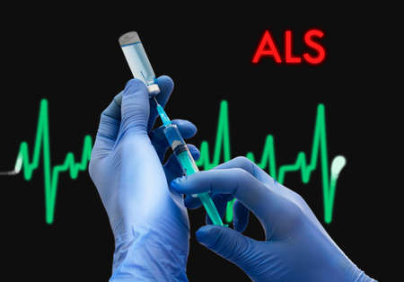 als: Treatment of ALS (amyotrophic lateral sclerosis). Syringe is filled with injection. Syringe and vaccine. Medical concept.