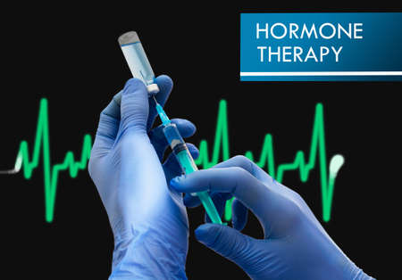 vaccine therapy: Hormone therapy. Syringe is filled with injection. Syringe and vaccine. Medical concept. Stock Photo