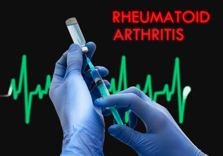 articulation: Treatment of rheumatoid arthritis. Syringe is filled with injection. Syringe and vaccine. Medical concept.
