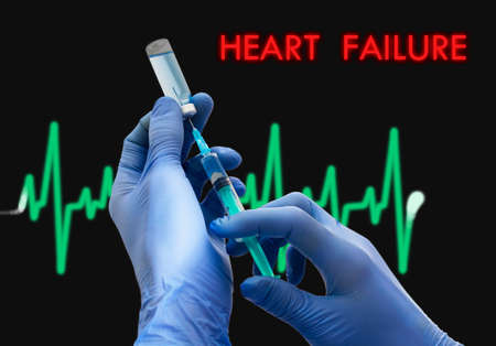 heart failure: Treatment of heart failure. Syringe is filled with injection. Syringe and vaccine. Medical concept.