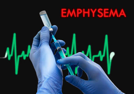 bronchioles: Treatment of emphysema. Syringe is filled with injection. Syringe and vaccine. Medical concept.