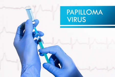 surgical oncology: Stop papilloma virus. Syringe is filled with injection. Syringe and vaccine