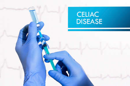 villus: Stop celiac disease. Syringe is filled with injection. Syringe and vaccine
