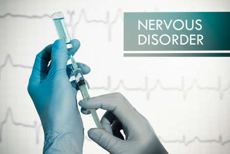 insomniac: Stop nervous disorder. Syringe is filled with injection. Syringe and vaccine Stock Photo