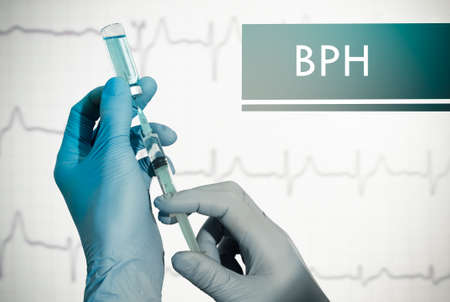 prostatic: Stop BPH (benign prostatic hyperplasia). Syringe is filled with injection. Syringe and vaccine