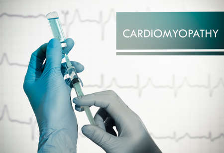 myocardium: Stop cardiomyopathy. Syringe is filled with injection. Syringe and vaccine