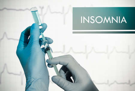 insomniac: Stop insomnia. Syringe is filled with injection. Syringe and vaccine