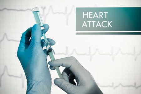 tachycardia: Stop heart attack. Syringe is filled with injection. Syringe and vaccine Stock Photo