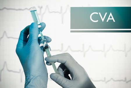 hemorragia: Deja de ACV (accidente cerebrovascular). Jeringa se llena con la inyecci�n. Jeringa y la vacuna