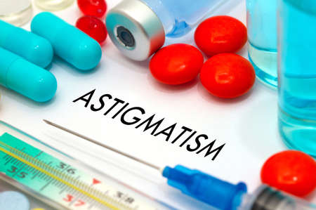deviation: Astigmatism. Treatment and prevention of disease. Syringe and vaccine. Medical concept. Selective focus