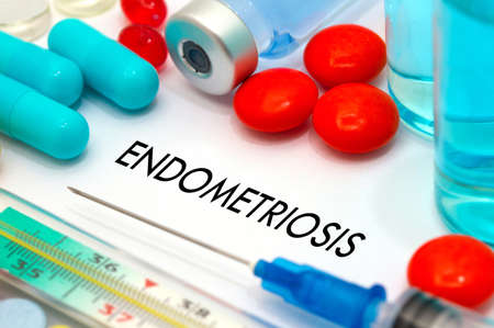 Endometriosis. Treatment and prevention of disease. Syringe and vaccine. Medical concept. Selective focus
