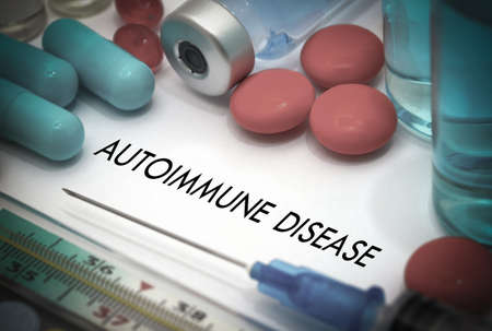 autoimmune: Autoimmune disease. Treatment and prevention of disease. Syringe and vaccine. Medical concept. Selective focus Stock Photo