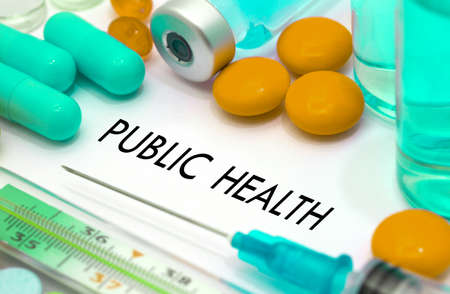 public insurance: Public health. Treatment and prevention of disease. Syringe and vaccine. Medical concept. Selective focus Stock Photo