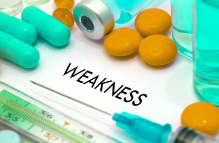 weakness: Weakness. Treatment and prevention of disease. Syringe and vaccine. Medical concept. Selective focus Stock Photo