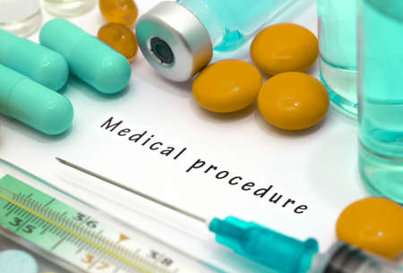 medical procedure: Medical procedure - diagnosis written on a white piece of paper. Syringe and vaccine with drugs. Stock Photo