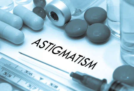 astigmatism: Astigmatism. Treatment and prevention of disease. Syringe and vaccine. Medical concept. Selective focus