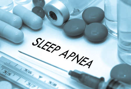 somnambulism: Sleep apnea. Treatment and prevention of disease. Syringe and vaccine. Medical concept. Selective focus Stock Photo