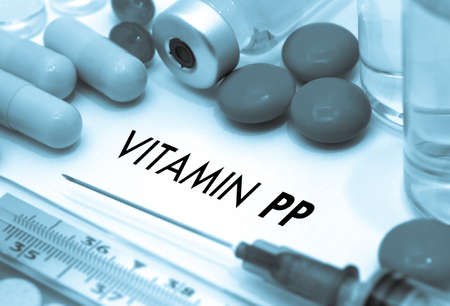 pp: Vitamin pp. Treatment and prevention of disease. Syringe and vaccine. Medical concept. Selective focus