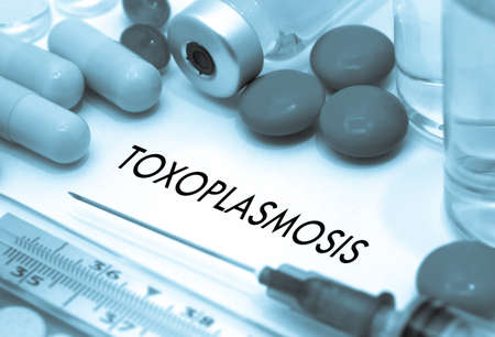 convulsions: Toxoplasmosis. Treatment and prevention of disease. Syringe and vaccine. Medical concept. Selective focus Stock Photo