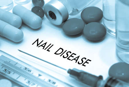 concave: Nail disease. Treatment and prevention of disease. Syringe and vaccine. Medical concept. Selective focus Stock Photo