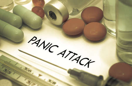panic attack: Panic attack. Treatment and prevention of disease. Syringe and vaccine. Medical concept. Selective focus Stock Photo