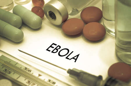 prevention of disease: Ebola. Treatment and prevention of disease. Syringe and vaccine. Medical concept. Selective focus Stock Photo