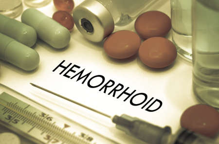hemorrhoid: Hemorrhoid. Treatment and prevention of disease. Syringe and vaccine. Medical concept. Selective focus