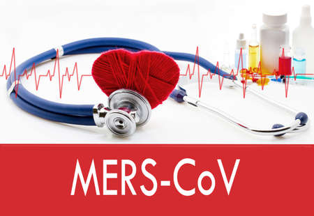 coronavirus: Medical concept, mers-cov. Stethoscope and red heart on a white background