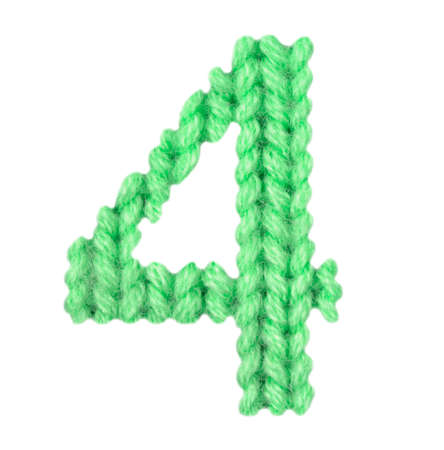 Number 4 (four) alphabet on a texture knitted pattern of woolen thread closeup. One figure of the alphabet. Education and holidays. Typography design. Color green Reklamní fotografie - 67896133