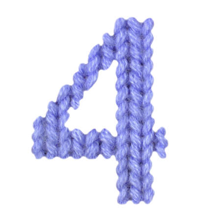 Number 4 (four) alphabet on a blurry texture knitted pattern of woolen thread closeup. One figure of the alphabet. Education and holidays. Typography design. Color dark blue