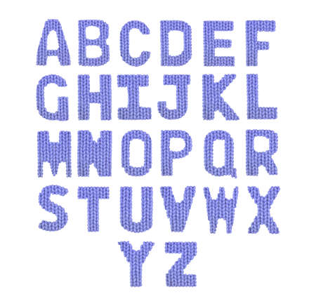 English alphabet on a blurry texture knitted pattern of woolen thread closeup. Education and holidays. Typography design. Color dark blue