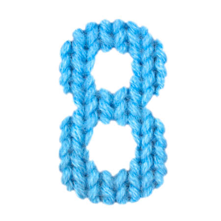 Number 8 (eight) alphabet on a blurry texture knitted pattern of woolen thread closeup. One figure of the alphabet. Education and holidays. Typography design. Color blue