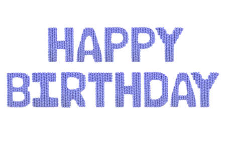 dark fiber: Happy birthday word on a blurry texture knitted pattern of woolen thread closeup. English alphabet. Typography design. Color dark blue Stock Photo