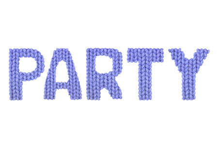 Party word on a blurry texture knitted pattern of woolen thread closeup. English alphabet. Typography design. Color dark blue