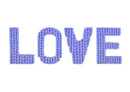 Love word on a blurry texture knitted pattern of woolen thread closeup. English alphabet. Typography design. Color dark blue Reklamní fotografie - 68719397
