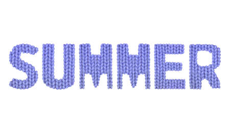 Summer word on a blurry texture knitted pattern of woolen thread closeup. English alphabet. Typography design. Color dark blue