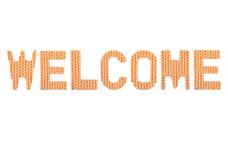 Welcome word on a blurry texture knitted pattern of woolen thread closeup. English alphabet. Typography design. Color orange