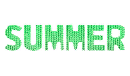 Summer word on a blurry texture knitted pattern of woolen thread closeup. English alphabet. Typography design. Color green Reklamní fotografie - 68722612