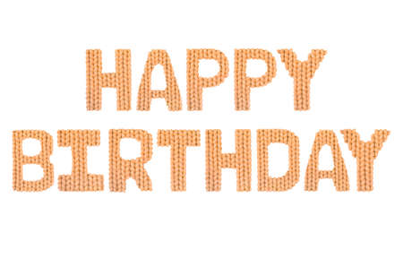 Happy birthday word on a blurry texture knitted pattern of woolen thread closeup. English alphabet. Typography design. Color orange Reklamní fotografie - 68722614