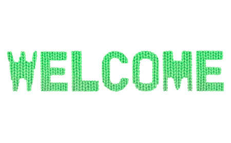 Welcome word on a blurry texture knitted pattern of woolen thread closeup. English alphabet. Typography design. Color green