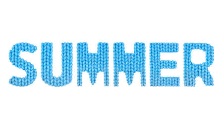 good weather: Summer word on a blurry texture knitted pattern of woolen thread closeup. English alphabet. Typography design. Color blue